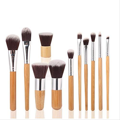 Pinceau à sourcils Set de 11 pinceaux de maquillage avec manche en bambou, pinceau pour fard à paupières.