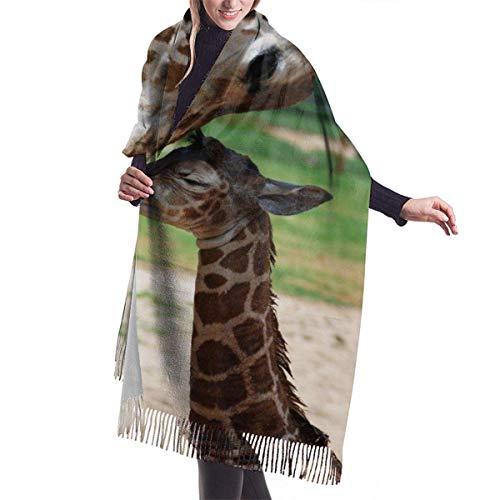 Bufanda de cachemir con estampado de tortugas marinas verdes a la moda para mujer, bufanda grande cálida de invierno, caja de regalo