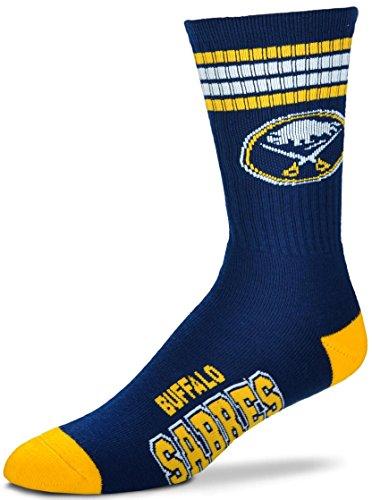 For Bare Feet NHL 4 Stripe Deuce Crew Men Socks-Buffalo Sabres-Large (10-13)
