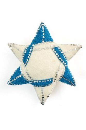 ARCADIA HOME TTF9 Hand Felted Wool Star of David Tree Topper with Sequin Accents, Blue