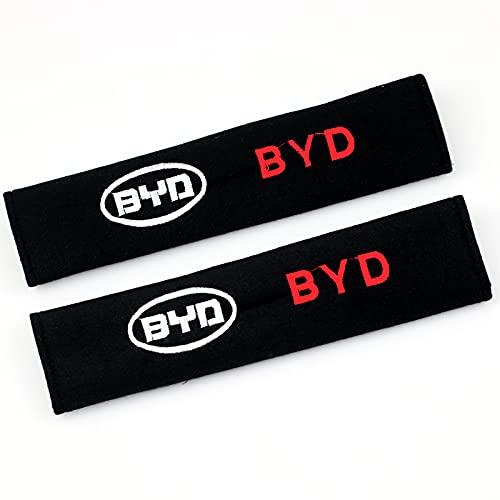 ONETOOSE 2 Fundas para CinturóN De Seguridad para Hombreras, Negras, con Logotipo Bordado, Funda Protectora para CinturóN De Seguridad, para BYD Logo