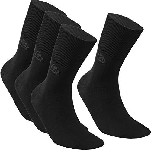 DeoMed 4paar Diabetiker-Socken COTTON Extra Weit Dünn Diabetikersocken für Damen und Herren ohne gummi (Schwarz, 39-42)