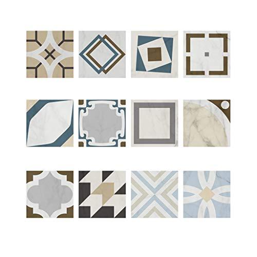 UKtrade 12 pegatinas de pared retro para transferencia de azulejos autoadhesivas, impermeables, para cocina, baño, decoración del hogar, 20 x 20 cm