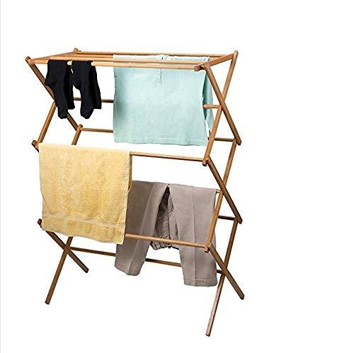 HOMION Tendedero plegable de madera de bambú tradicional de madera con diseño de concertina plegable de pie (3 niveles)