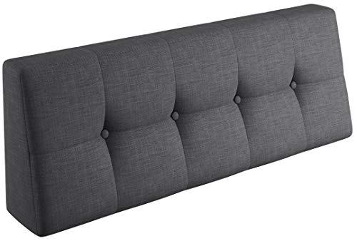 sunnypillow Palettenkissen Palettenauflage Palettenpolster Palettensofa Sitzkissen Rückenlehne gesteppt Rückenkissen 120x40x20/10cm Grey