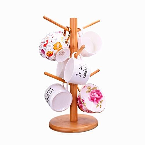 Bamboo Wood Mug Rack Tree Organic Bamboo Mug Holder Mug Hook Removable Mug StandCoffee Tea Cup Dryer with 6 Hooks,Decoration Counter Coffee Bar Accessories