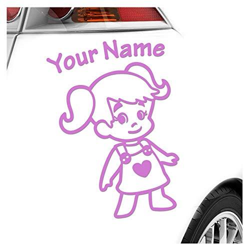 Babyaufkleber Mädchen Zöpfe Herz Sticker 25 Farben mit Wunschtext 15cm
