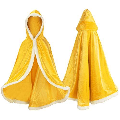 Proumhang Disfraz de Princesa Capa de Princesa para Niñas Disfraces para Halloween Trajes de Navidad Dorado 110 para 3-4 años