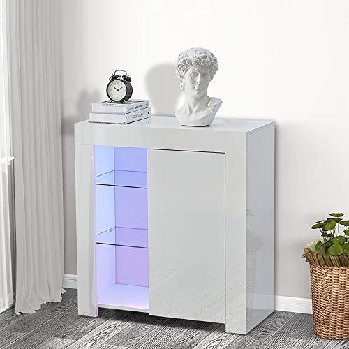 CLIPOP Moderner Hochglanz-Lichterschrank mit 2 Glasablagen Vitrine für Wohnzimmer Esszimmer, Spanplatte E1, weiß, 1 Door
