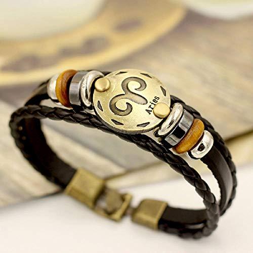 Bracelet En Cuir Pour Femme,Multi-Layer Vintage Bracelet Cuir Brown Couple Etudiant 12 Constellation Du Bélier Bracelet Cuir Cadeau Anniversaire Constellation 12 Bracelet Cuir Accessoires Bijoux Vêt