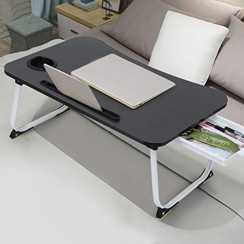 Bedside Table Mobile Medical Overbed Table, Home Office Portable Foldable Laptop Desk Coffee Table Bed Tray, Student Study Writing Breakfast Table Bed Tray Bedroom Laptop Table (Black)