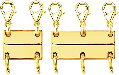 HXSCOO Separador for Collares y Cadenas apilables Pulseras Collar en Capas Cierre de joyería magnética Class (Color : 2Pcs (Double Gold+Triple Gold) A)