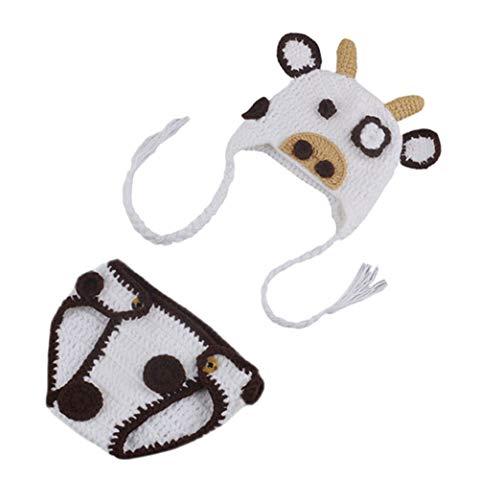 DELEY Disfraz de Vacas de Ganchillo para Bebé Infantil Ropa Traje de la Foto Puntales de 0-6 Meses