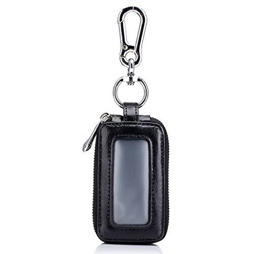 LIUCHEN@ Autoschlüssel Fall2019 New Real Key Holder Echte Kleinlederwaren Lässige Mode Schlüsseletui Halter Für Männer Frauen Schlüsselmappe, Schwarz
