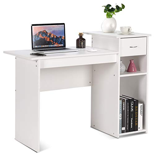 Tangkula Computer Desk, Home Office Wooden PC Laptop Desk, Modern Simple Style Wood Study Workstation, Writing Table with Storage Drawer & Shelves, Wooden Furniture (White)