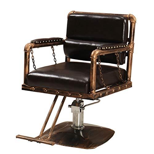 Sillón Vintage Profesional de Peluquería Barbero Tattoo, 360º Giratoria, Sillón Ajustable Altura Regulable, Salón de Belleza, SPA,C