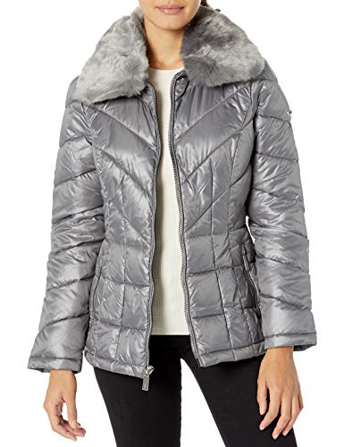 Kenneth Cole New York Women's Zip Front Puffer with Faux Fur Collar, Nickel, X-Large