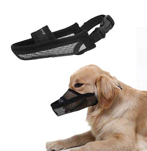 Crazy Felix Nylon Dog Muzzle for Small Medium Large Dogs, Air Mesh Breathable and Drinkable Pet Muzzle for Anti-Biting Anti-Barking Licking (XL, Black)
