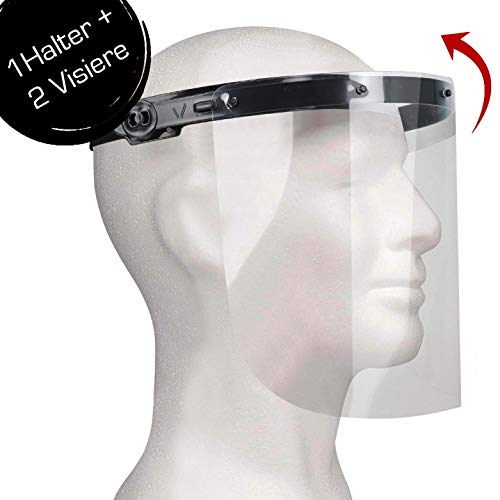 Enka Care Gesichtsschutz Visier aus Kunststoff - Augenschutz Spuck-Schutz - Premium Gesichtsschild - Face-Shield -1 x Halterungen mit je 2 Wechselfolien (1H - 2V Schwarz)