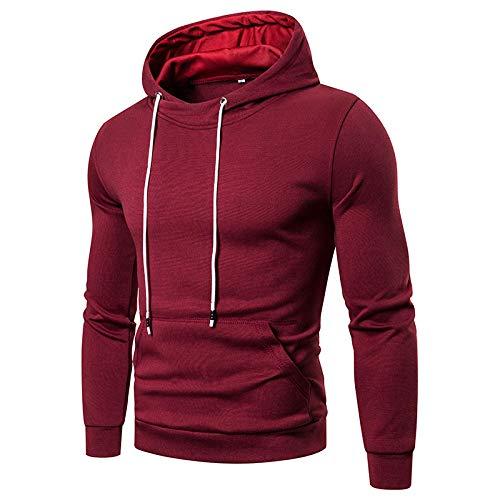 ADXD Camiseta ligera y cálida Oversize Casual Invierno con Sweatshirt Hooded de manga larga para hombre camiseta con capucha elegante Sweatshirt NY-84390 Vino rojo XXL