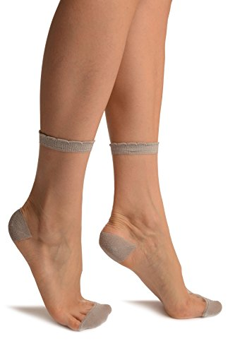 LissKiss Silver Lurex Top und Heel Invisible Ankle High Socks - Silber Socken, Einheitsgroesse (37-42)