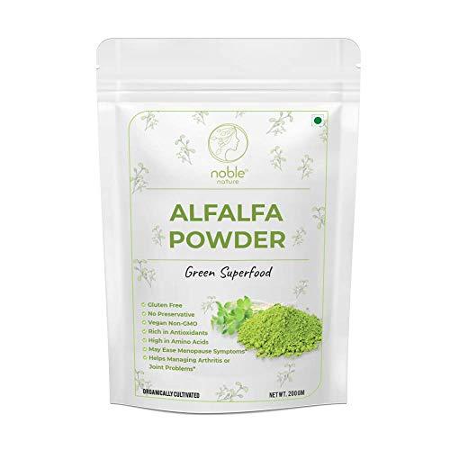 Bellentines Noble Nature Alfalfa Powder 200 gm   Organically Grown   Vegan, Non-GMO   Rich in Fiber, Chlorophyll, Fatty Acids   Immunity Booster, Superfood Supplement & Natural Multivitamin  