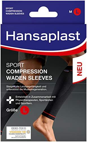 Hansaplast Sport Compression Wear Waden Sleeves, Wadenbandage zur Unterstützung der Muskulatur, Waden Kompressionsstrümpfe fördern die Muskelregenration, 1 Paar, Größe L/XL