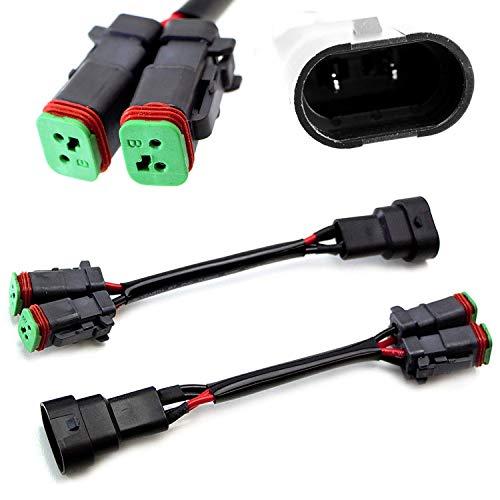 iJDMTOY (2) Y-Shape Dual Outputs 9145 H10 9006 To Deutsch DT DTP Adapters Connectors Splitters, Compatible With Dual LED Pod Lights, LED Light Bar, LED Work Lamps, Fog Lights, etc