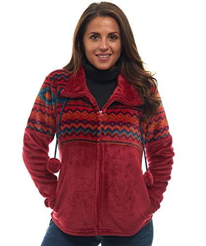 TrailCrest Ultra weiche Damen-Jacke mit durchgehendem Reißverschluss, Plüsch-Fleece mit samtweichem Seidengefühl, Azteken-/Ikat-Lustige und trendige Drucke, 9 Farben - mehrfarbig - XX-Large