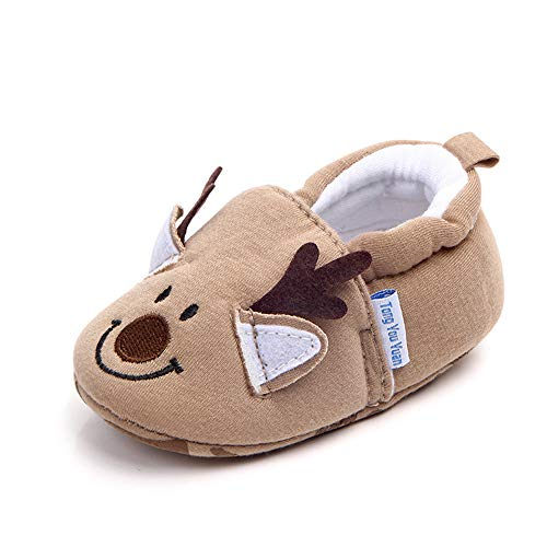 Save Beautiful Cute Cartoon Infant Unisex Baby Warm Cotton Anti-Slip Soft Sole First Walkers Shoes (0-6 Months, Khaki Deer)