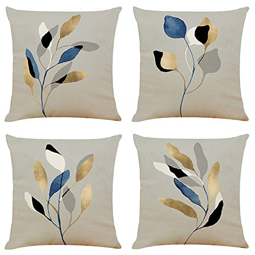 BCKAKQA Leaf Cushion Covers 45cm x 45cm Set of 4 Grey Decorative Throw Pillow Covers 18x18 inches Soft Polyester Square Cushion Cases for Living Room Sofa Couch Bed Pillowcases