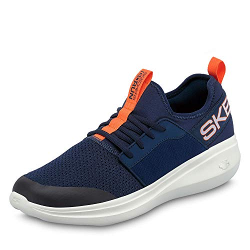 Skechers Go Run Fast Steadfast, Zapatillas sin cordones Hombre, Azul (Navy Textile/Orange Trim Nvor), 42.5 EU