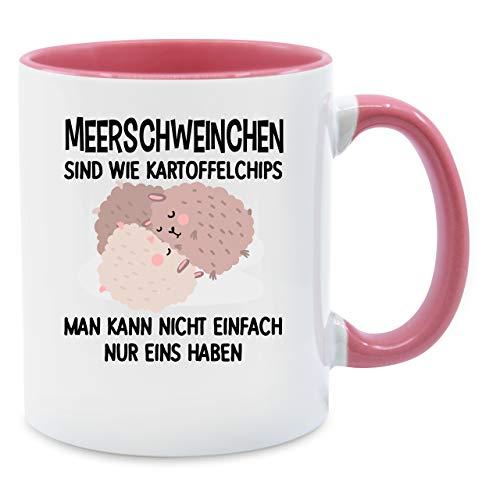 Statement Tasse - Lustiges Meerschweinchen Motiv - Unisize - Rosa - kaffee lustig - Q9061 - Kaffee-Tasse inkl. Geschenk-Verpackung