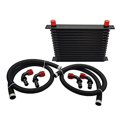 H HILABEE Enfriador de aceite AN10 Radiador de transmisión del motor que reduce la temperatura del refrigerante Aluminio Negro Reemplazo automotriz - 15 filas