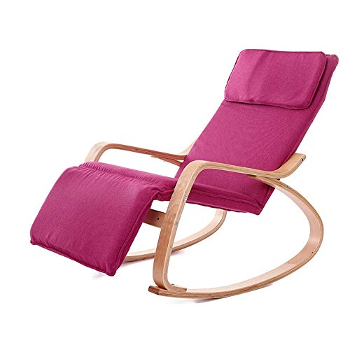 Chair Bent Wood Rocking Rocking Rocking Folding Recliner (Color : Red)