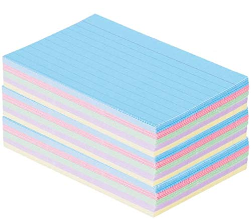 1InTheOffice Index Cards 3 x 5 Ruled Pastel Colored, Assorted 300/Pack