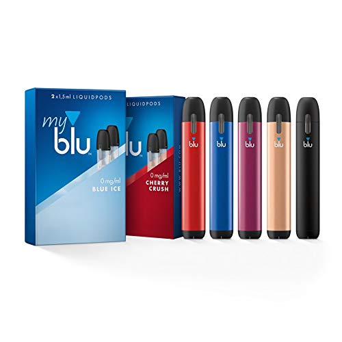 Starter Set mit 2 x E-Zigarette Vape Device myblu schwarz und farbig + Farbwechsel für Vape Device + 2 Doppelsets Liquids Aroma Blue Ice und Cherry Crush - Ohne Nikotin + Original myblu Zubehör!