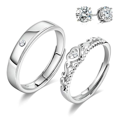 Aciei His & Her Promise Ring Set for Couple Heart Crown CZ Ring Sterling Silver Enagement Ring Endless