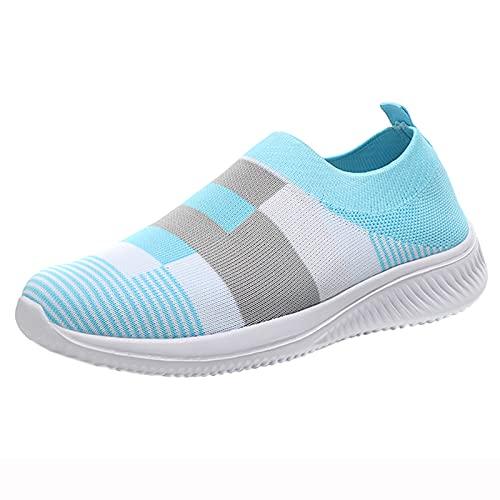 Vectry Damen Schuhe Slip On Sneakers Mädchen Schulschuhe Streifendruck Low Tops Sock Sneakers Atmungsaktiv Lässige Wanderschuhe Outdoor Sport Laufschuhe Hellblau 40EU