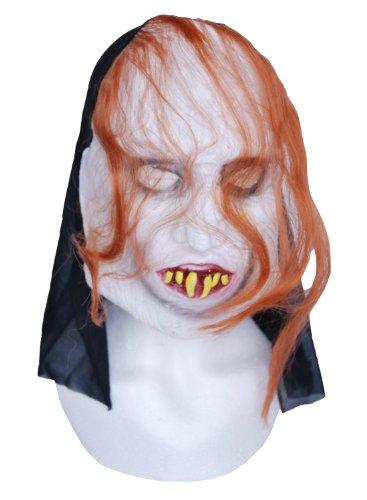 Zombie caoutchouc Gris Masque Visage Yeux-Fangs