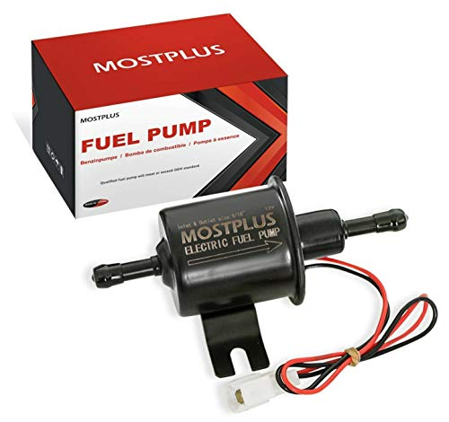 MOSTPLUS Universal Low Pressure Gas Diesel Inline Metal Solid Petrol 12V Heavy Duty Electric Fuel Pump Compatible with Motorcycle Carburetor ATV HEP-02A