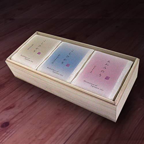 お米ギフト(仏事用) 偲び米 食べ比べ 真空パック のし付き 粗供養 3合 3品種セット 桐箱入り