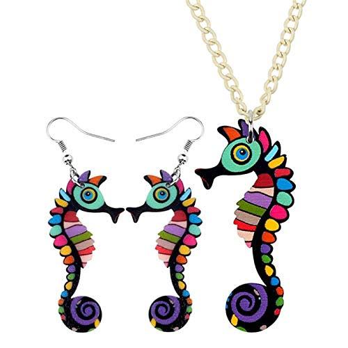 Bath chair Juego de joyas acrílicas coloridas con diseño de caballito de mar, diseño de dibujos animados, regalo para mujeres y niñas CHFYG (color: multicolor)