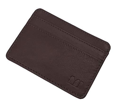 Extra piatto porta carte di credito in pelle di vitello MJ-Design-Germany in diversi colori (Marrone)