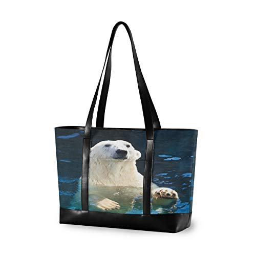 CPYang Laptop-Tasche, 39,6 cm (15,6 Zoll), niedliches Tiermotiv, Eisbär, Leinen, Schultertasche, große Handtasche, für Arbeit, Business, Schule, Reisen