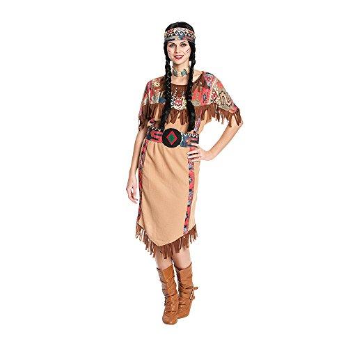 Kostümplanet® Indianer-Kostüm Damen Indianerin Kleid mit Tasche Karnevals-Kostüme Squaw Western Outfit Verkleidung Erwachsene Fasching Größe 44-46