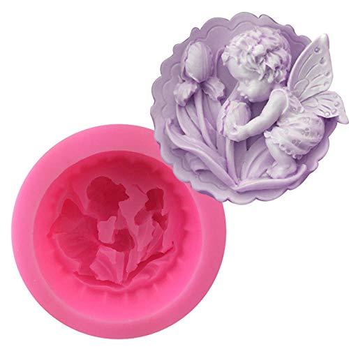 Moldes de silicona de grado alimenticio, flores de ángel para besar bebés, para jabón, pastel, pan, chocolate, gelatina, dulces, molde de cubitos de hielo antiadherente (2 piezas)-9.5 * 9.5 * 4.9CM