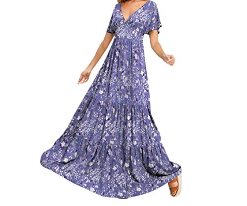 Timitai Ladies 'Dress, T-Shirt-Kleid, Winterkleid, V-Ausschnitt Brautkleid, langärmeliges Minikleid, langes Hemd, lose Tunika, mit Bowknot Ärmeln blumig Kleid, Vintage Party Sexy Sommer simpleDress