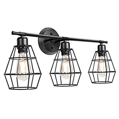 3-Light Industrial Bathroom Vanity Lights, Farmhouse Wall Light Fixture, Metal Cage Wall Sconce, Vintage Porch Wall Lamp for Mirror Cabinets, Kitchen, Living Room, Workshop