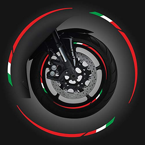 4R Quattroerre.it 10398 Wheel Rim Adesivo Bandiera Italia per Cerchi Moto, Rosso